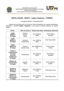 EDITAL CALEM – 06/2013 – Inglês e Espanhol – CURSOS
