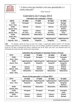 Calendário da II etapa 2013