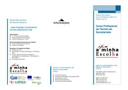 Informações Curso Profissional de Técnico de Secretariado