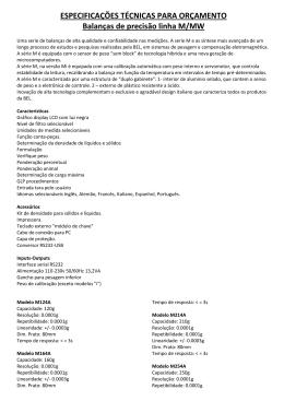 ESPECIFICAÇÕES TÉCNICAS PARA ORÇAMENTO