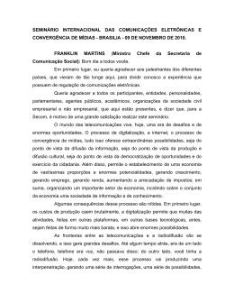 Abertura do Seminário - Seminário Internacional das Comunicações