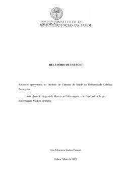 RELATÓRIO DE ESTÁGIO Relatório apresentado ao Instituto de