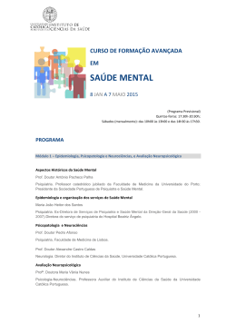 Programa - Associação Portuguesa de Internos de Psiquiatria | APIP