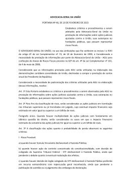 ADVOCACIA-GERAL DA UNIÃO PORTARIA Nº 40, DE 10 DE