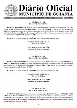 MUNICÍPIO DE GOIÂNIA - Prefeitura de Goiânia