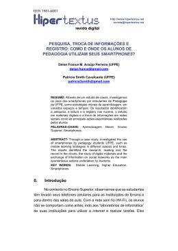 PESQUISA, TROCA DE INFORMAÇÕES E REGISTRO
