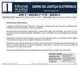 TJ-GO DIÁRIO DA JUSTIÇA ELETRÔNICO - EDIÇÃO 1179