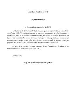 Calendário Acadêmico - Universidade Católica de Brasília