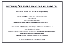 INFORMAÇÕES SOBRE INÍCIO DAS AULAS DE DP!