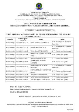 Início das aulas: 04/11/2015 Dias de realização das aulas