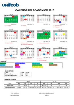 Calendário Acadêmico 1º Semestre 2015