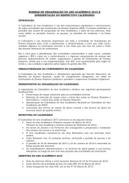 Calendário Académico 2015