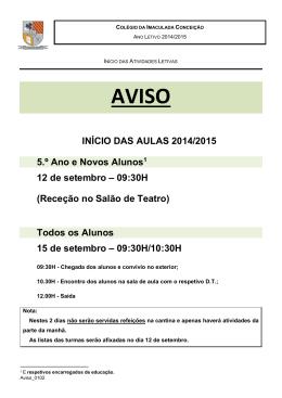 INÍCIO DAS AULAS 2014/2015 5.º Ano e Novos Alunos1 12 de