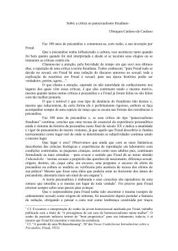 Sobre a crítica ao pansexualismo freudiano Ubirajara Cardoso de