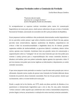 """Artigo """"Algumas Verdades sobre a Comissão da Verdade"""" - CRP-RJ"""