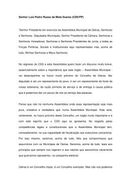 Discurso CDS - Câmara Municipal de Oeiras