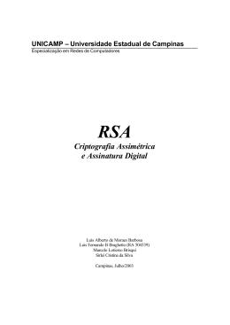 RSA - Criptografia Assimetrica e Assinatura Digital