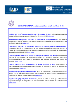 LEGISLAÇÃO EUROPEIA e outros atos publicados no Jornal Oficial