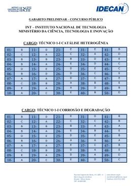 GABARITO PRELIMINAR - INT - INSTITUTO NACIONAL DE