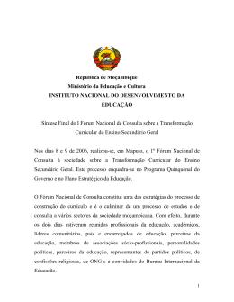 República de Moçambique Ministério da Educação e Cultura