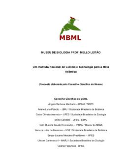 MUSEU DE BIOLOGIA PROF. MELLO LEITÃO Um Instituto Nacional