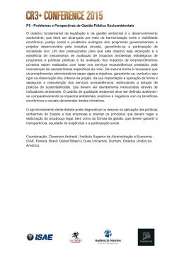 P5 - Problemas e Perspectivas de Gestão Pública Socioambientais