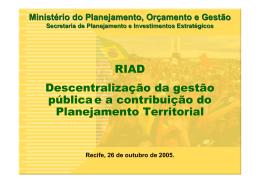Descentralização da gestão pública e a contribuição do