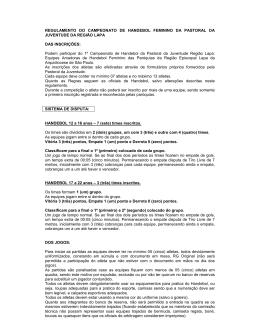 regulamento do campeonato de handebol feminino da pastoral