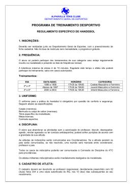 REGULAMENTO DE HANDEBOL - Alphaville Tênis Clube