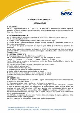 5ª COPA SESC DE HANDEBOL REGULAMENTO