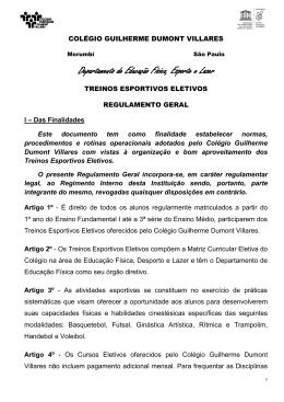Regulamento Esportes - Colégio Guilherme Dumont Villares