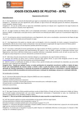 Regulamento JEPEL 2015 - Prefeitura Municipal de Pelotas