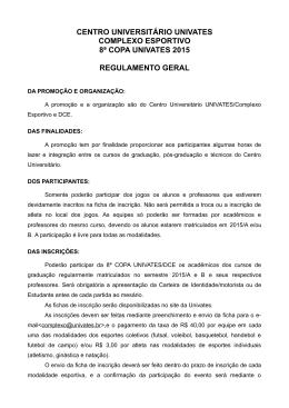 Regulamento Copa Univates/DCE
