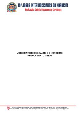 JOGOS INTERDIOCESANOS DO NORDESTE REGULAMENTO