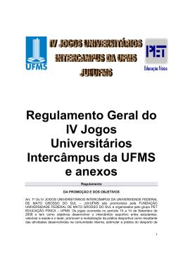 Regulamento Geral do IV Jogos Universitários Intercâmpus da