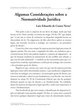 Algumas Considerações sobre a Normatividade Jurídica