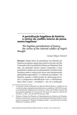 A periodização hegeliana da história: o vértice do conflito interno do
