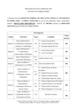 Resultado Preliminar - IFBA Campus Camaçari