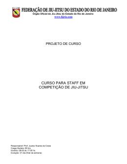 CURSO PARA STAFF EM COMPETIÇÃO DE JIU