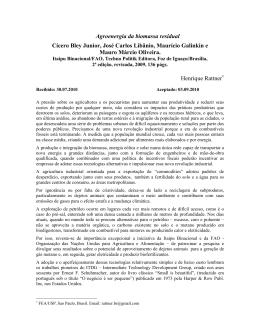 Agroenergia da biomassa residual Cícero Bley Junior, José Carlos