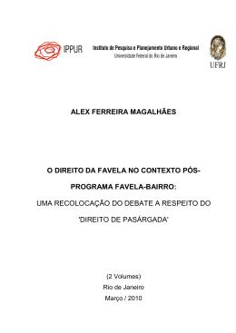 alex ferreira magalhães o direito da favela no contexto pós