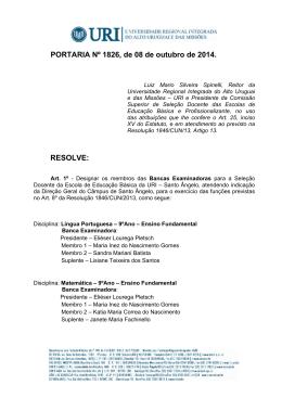 PORTARIA Nº 1826, de 08 de outubro de 2014. RESOLVE: