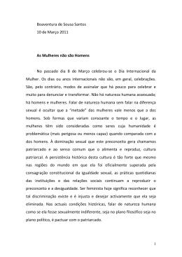 As mulheres não são homens - Boaventura de Sousa Santos