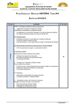 plano curricular - Agrupamento de Escolas de Sardoal