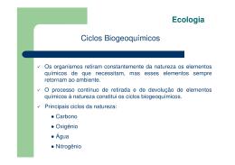 Ecologia – Ciclos biogeoquímicos