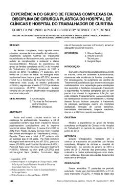 experiência do grupo de feridas complexas da disciplina de cirurgia