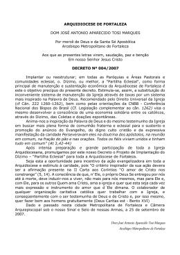 Decreto Dom José Antonio - Arquidiocese de Fortaleza