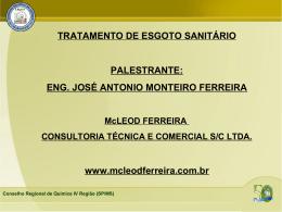 TRATAMENTO DE ESGOTO SANITÁRIO PALESTRANTE: ENG