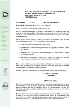 2.º Oficio remetido - Sindicato Nacional dos Técnicos Superiores de