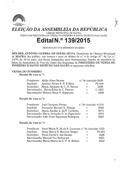 Edital n.º 139/2015 - Designação dos Membros da Mesa